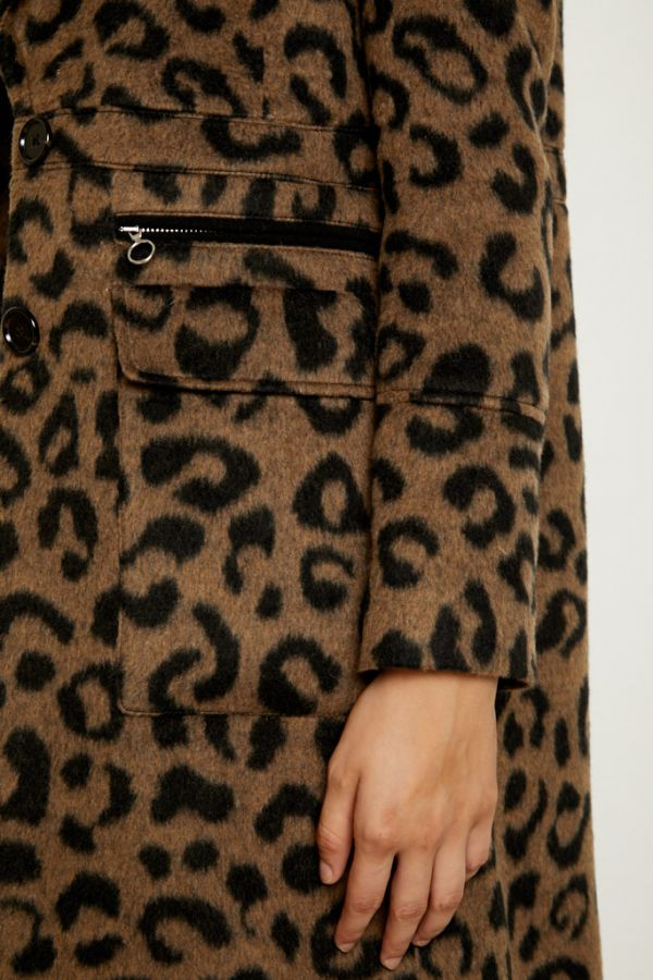 Leopard Print Wool Mix Coat