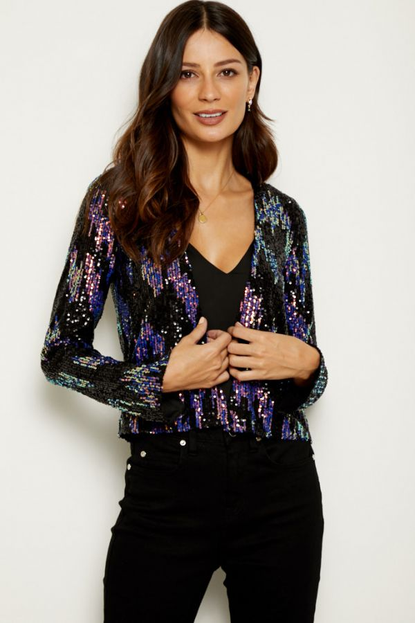 Black Iridescent Sequin Jacket
