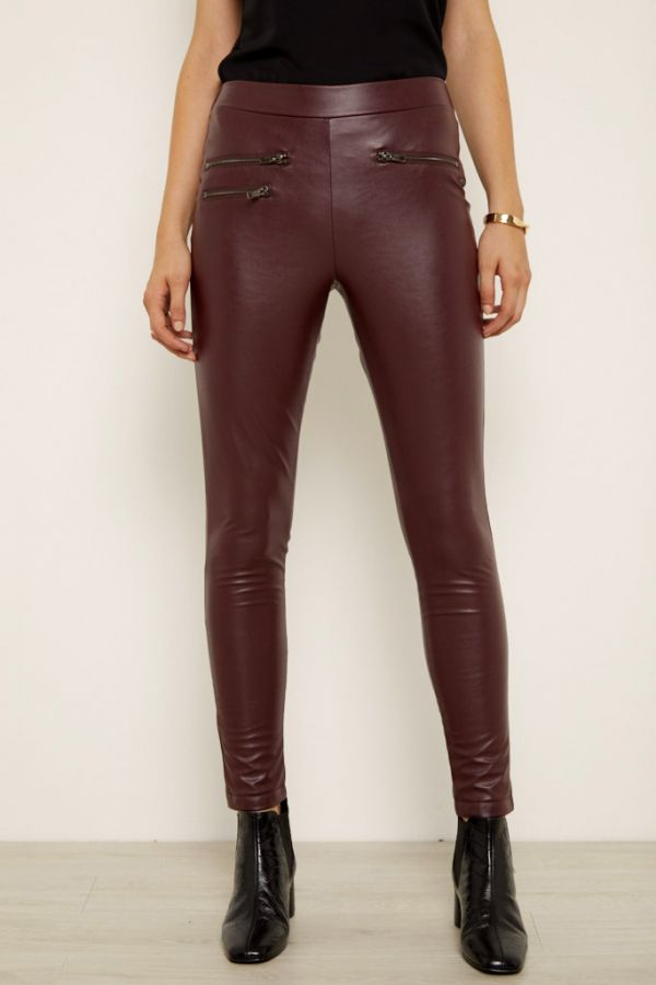 Burgundy Leather Look Leggings