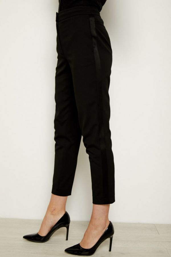 Black Satin Detail Slim Leg Tuxedo Trouser