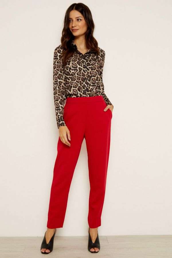 Red Tapered Leg Trouser