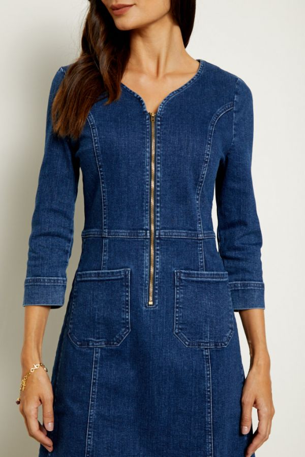 Indigo Zip Front Denim Shift Dress