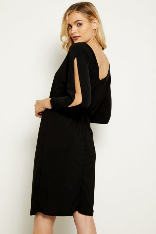 Black Split Sleeve Slinky Dress