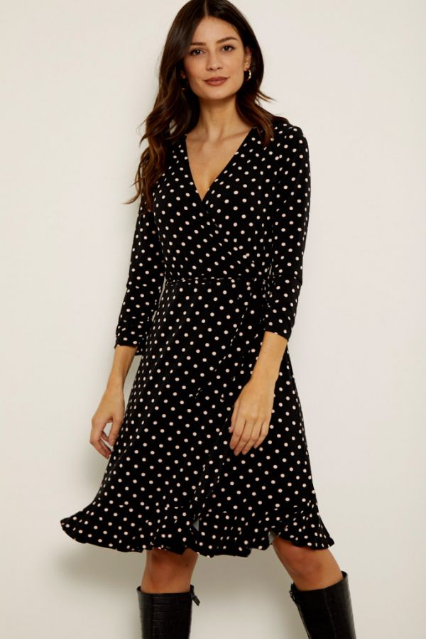 Black & Pink Polka Dot Wrap Dress