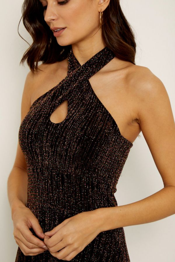 Bronze Metallic Multi Thread Cross Front Halter Neck Dress