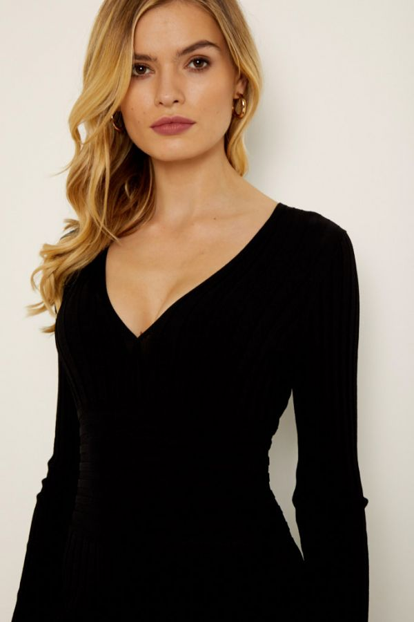 Black V Neck Ribbed Knitted Dress