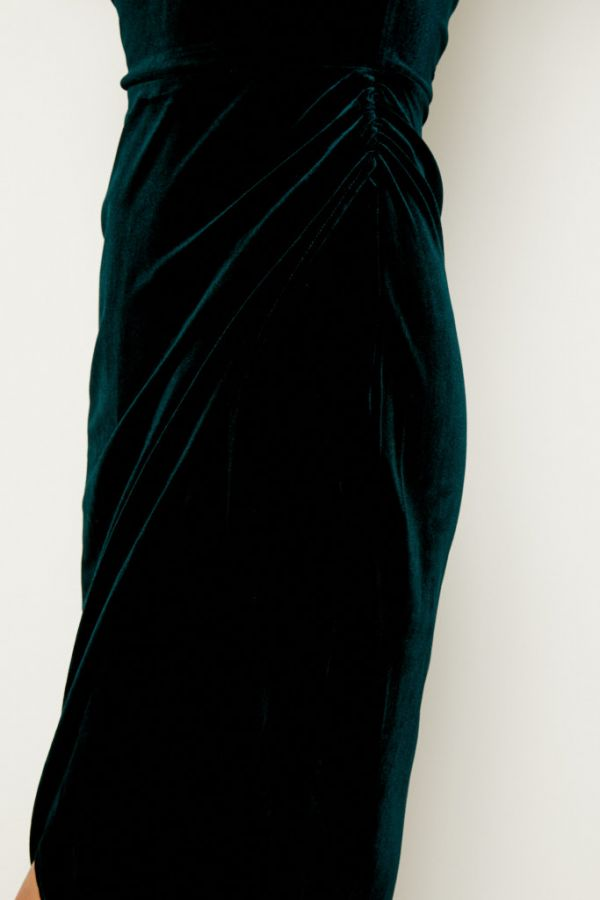 Dark Green Velvet Faux Wrap Bandeau Dress