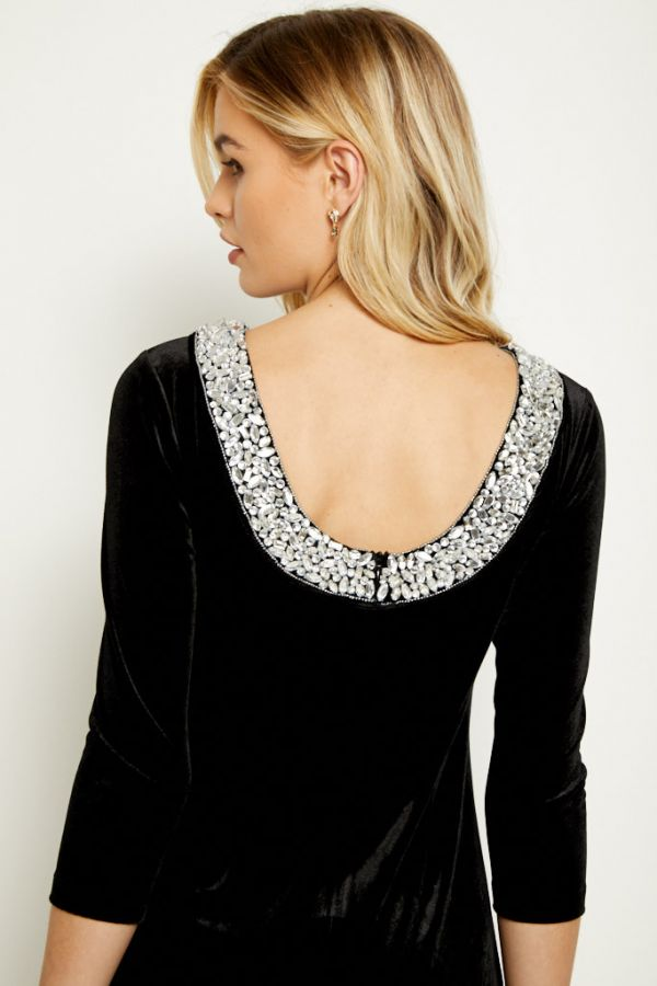Black Velvet Embellished Scoop Back Dress