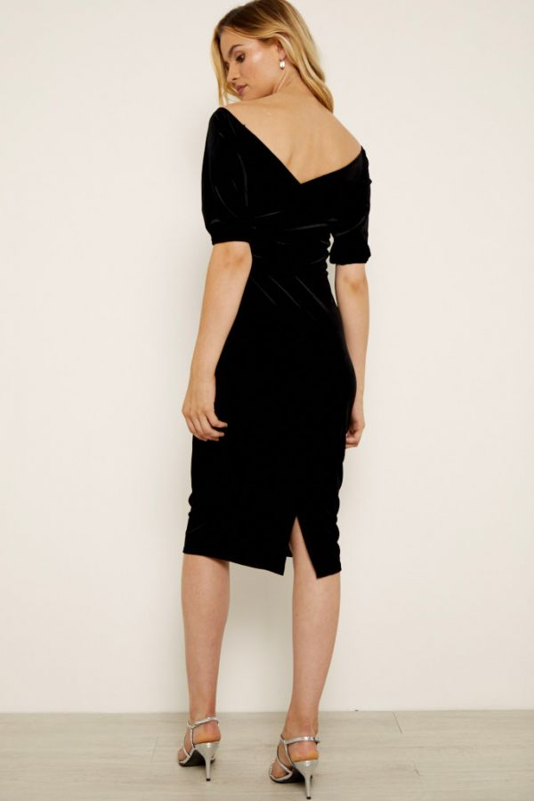 Black Velvet Cross Over Bardot Dress