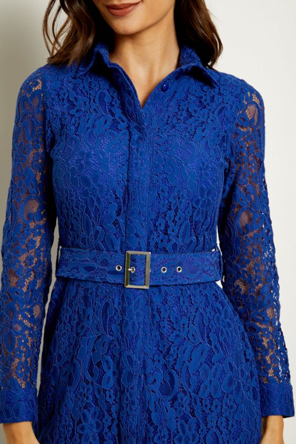 Cobalt Blue Belted Lace Shirt Dress