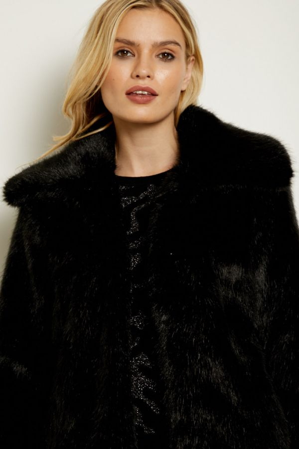 Black Faux Fur Cropped Jacket