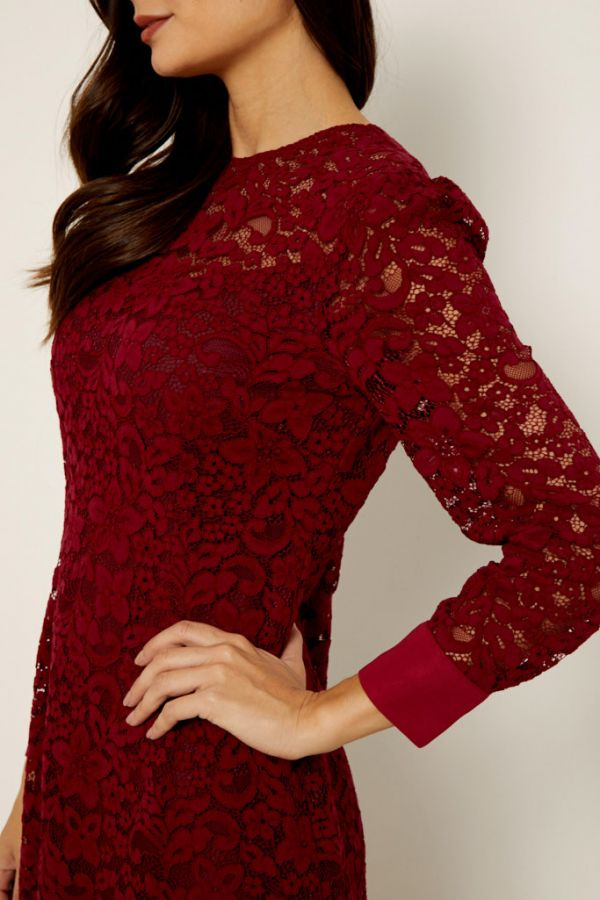 Burgundy Lace Shift Dress