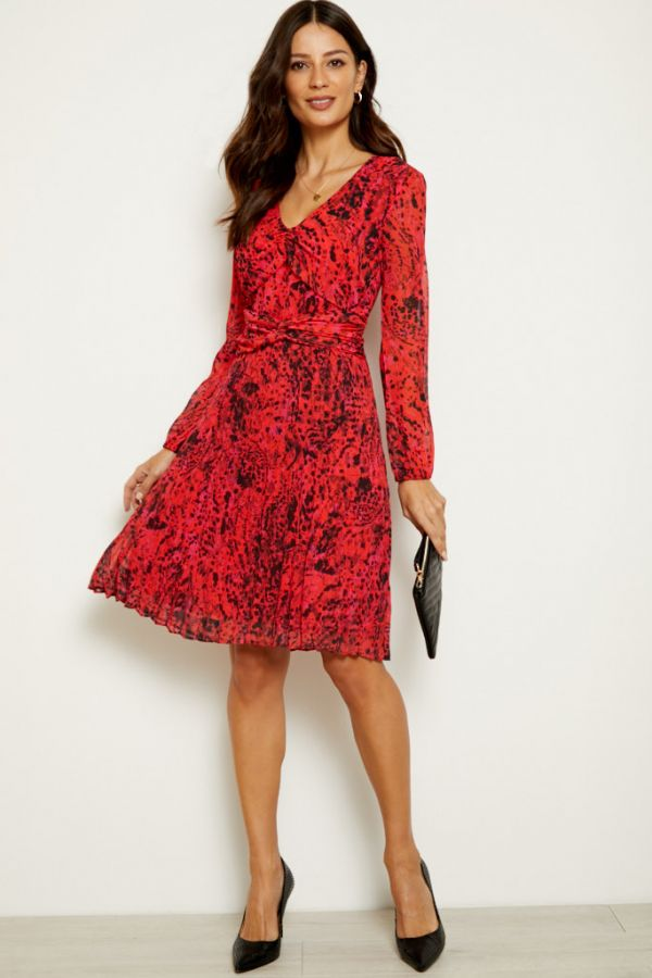 Red Abstract Print Twist Front V Neck Dress