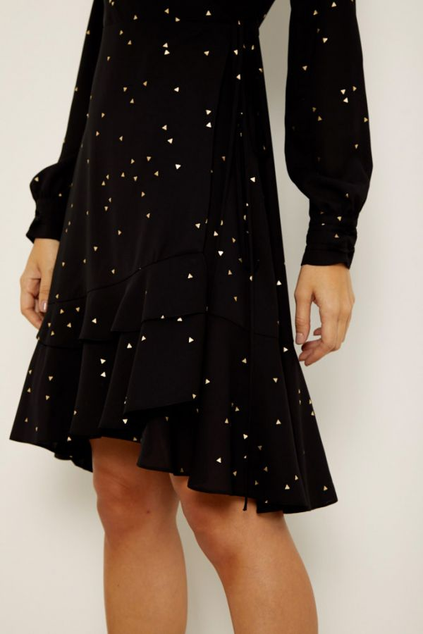 Black & Gold Print Ruffle Hem Wrap Dress
