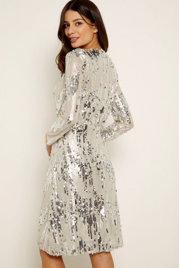Silver Scattered Sequin V Neck Dress