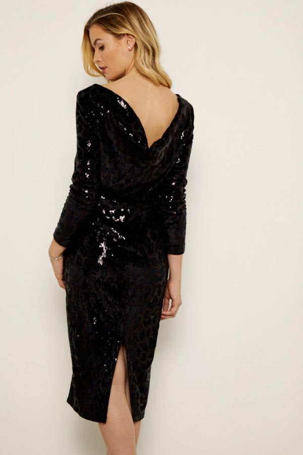 Black Animal Print Sequin Cowl Back Dress