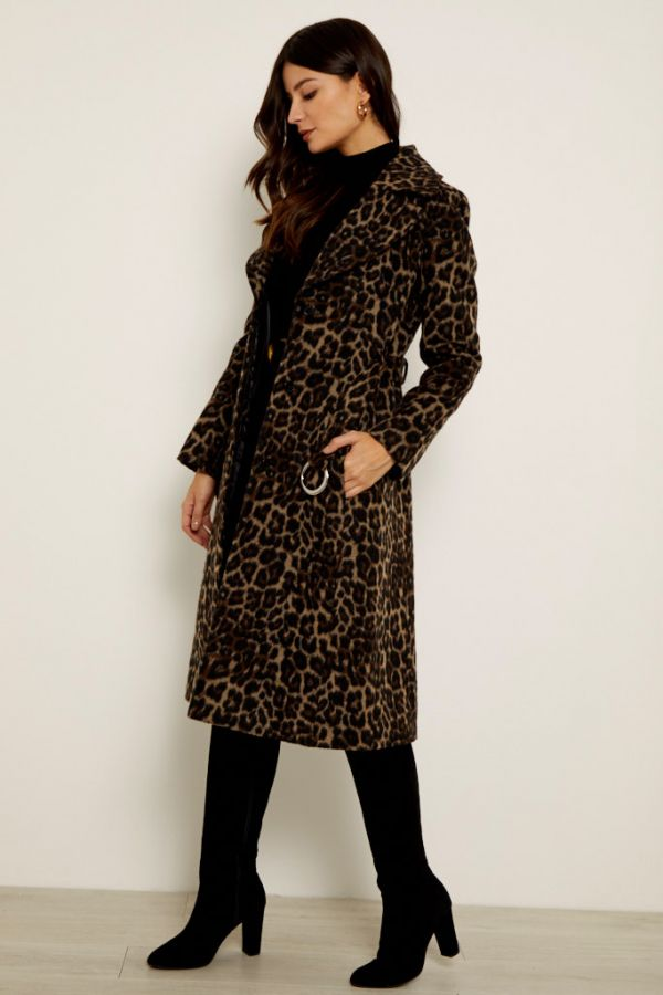 Leopard Print Belted Wool Mix Coat