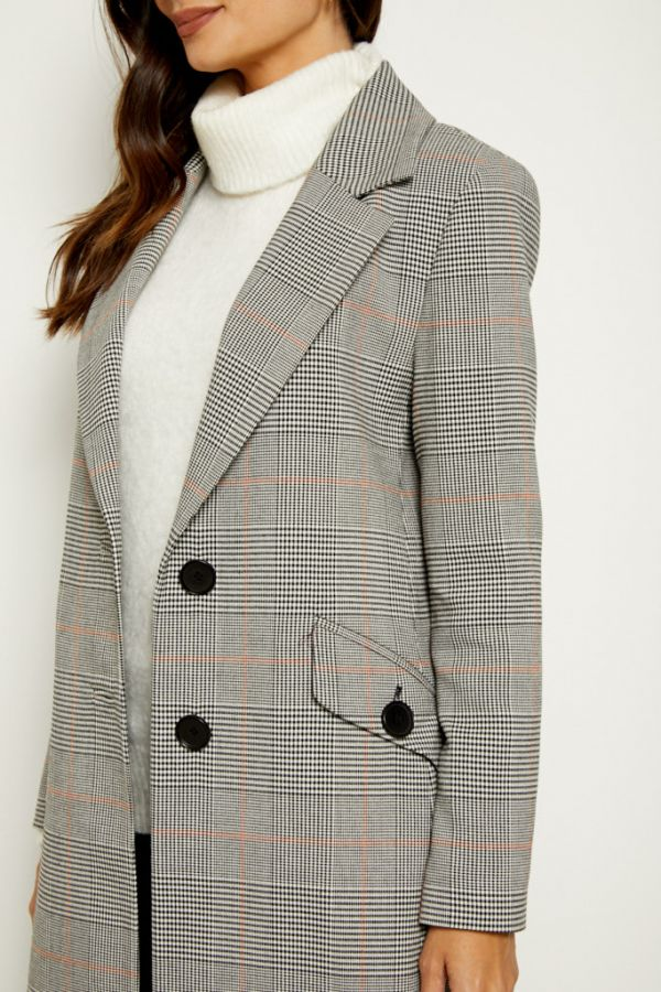 Grey Check Relaxed Fit Coat