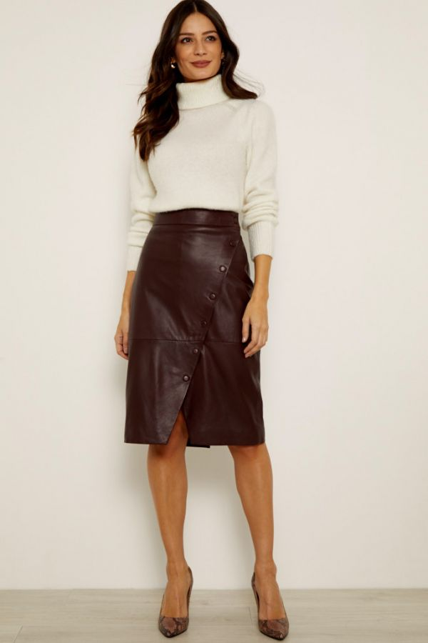 Burgundy Leather Button Front Wrap Skirt
