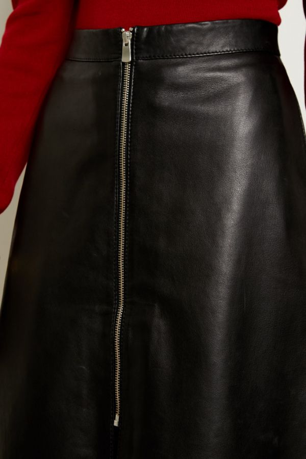 Black Leather Zip Front A Line Skirt