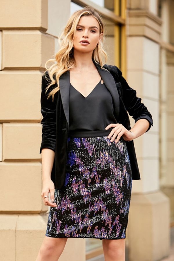 Black Iridescent Sequin Pencil Skirt