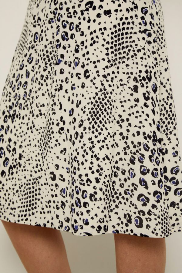 Cream Abstract Animal Print Midi Skirt