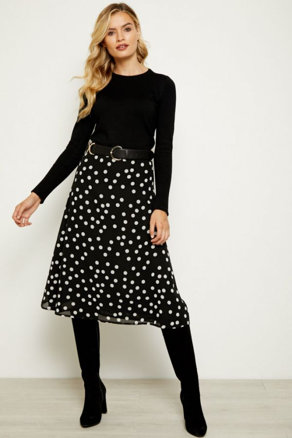 Black & White Polka Dot Print Midi Skirt