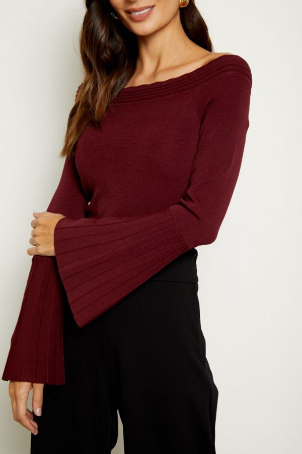 Wine Bardot Fluted Sleeve Top