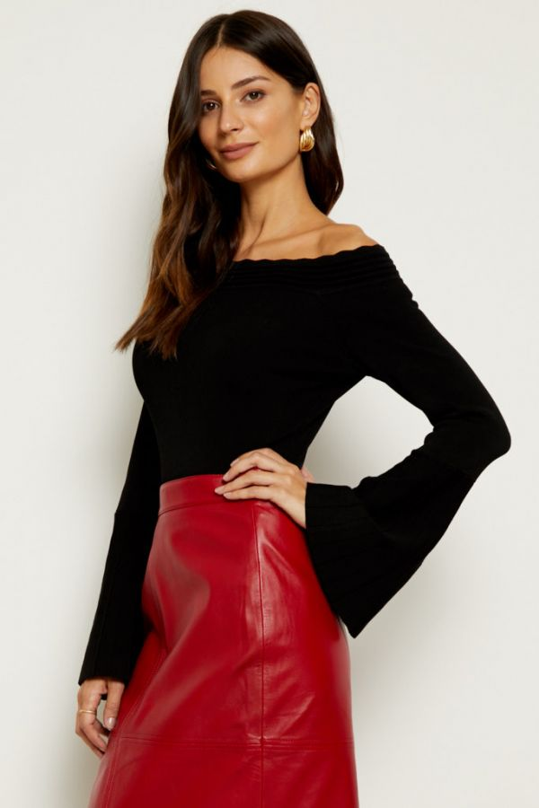 Black Bardot Fluted Sleeve Top