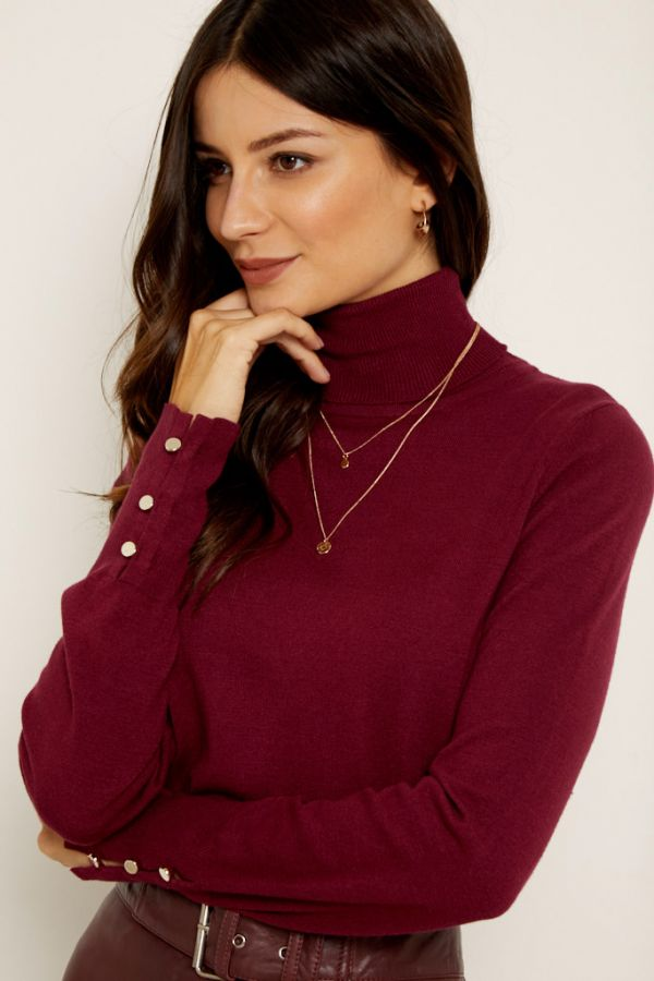 Burgundy Button Sleeve Detail Polo Neck Jumper
