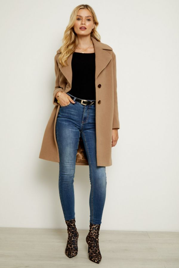 Camel Wool Mix Coat With Tortoiseshell Detail