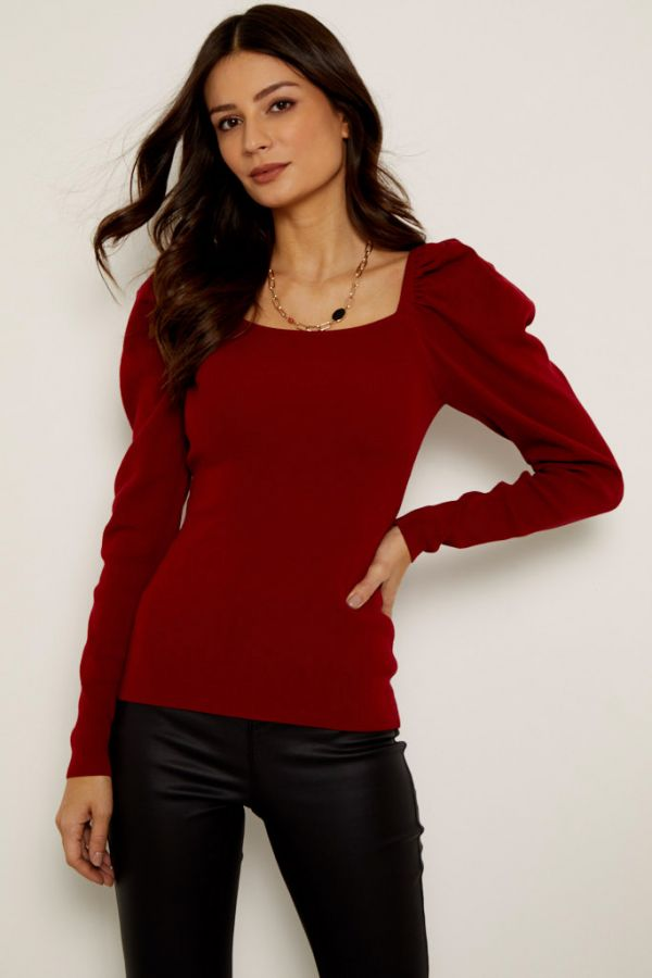 Red Square Neck Puff Sleeve Jumper
