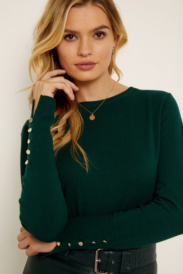 Dark Green Button Cuff Jumper