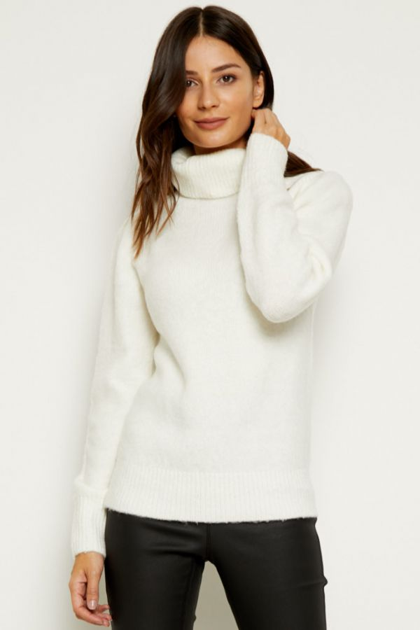 Ivory Fluffy Roll Neck Jumper