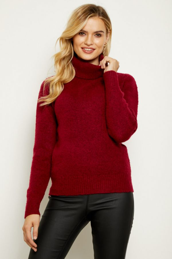 Red Fluffy Roll Neck Jumper
