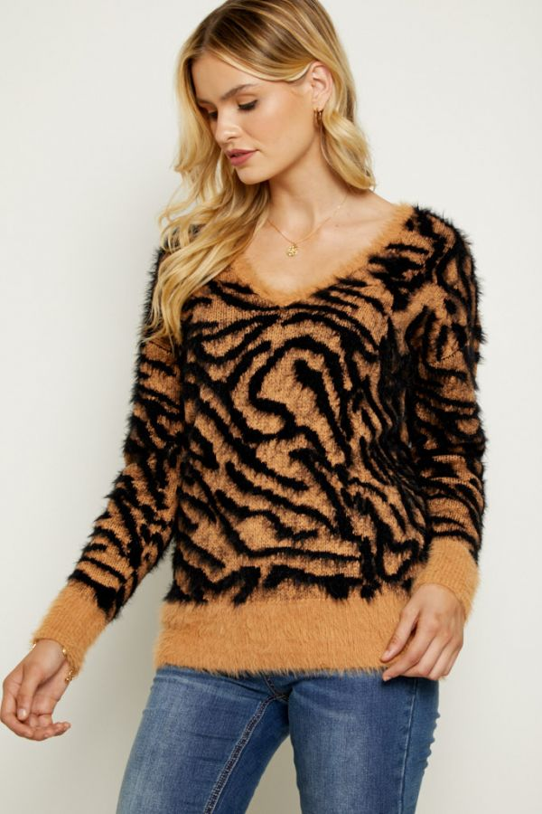Fluffy Zebra Print Jumper