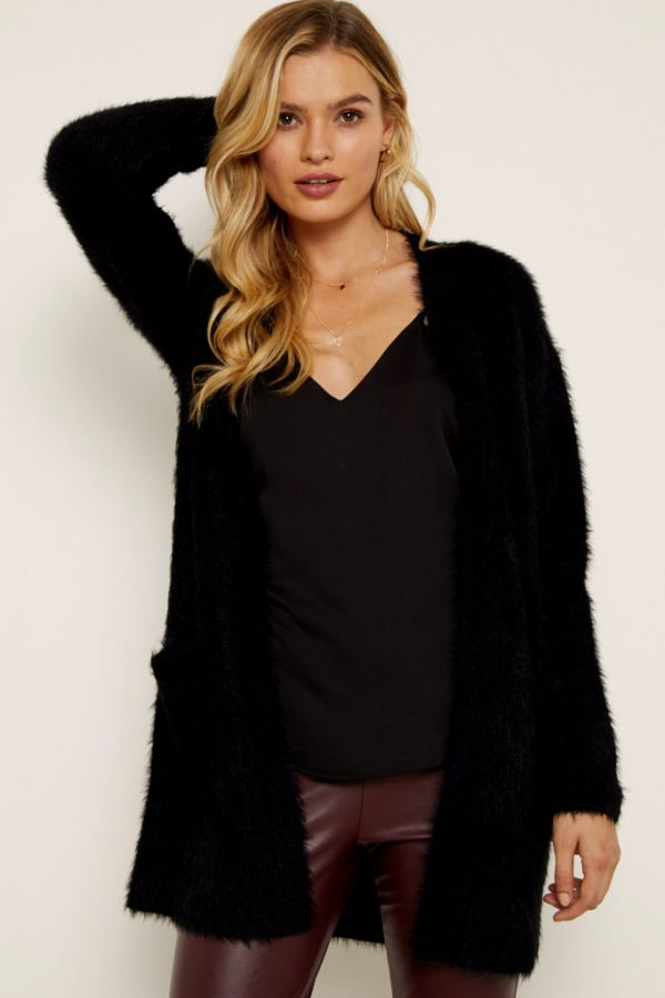 Black Fluffy Longline Cardigan