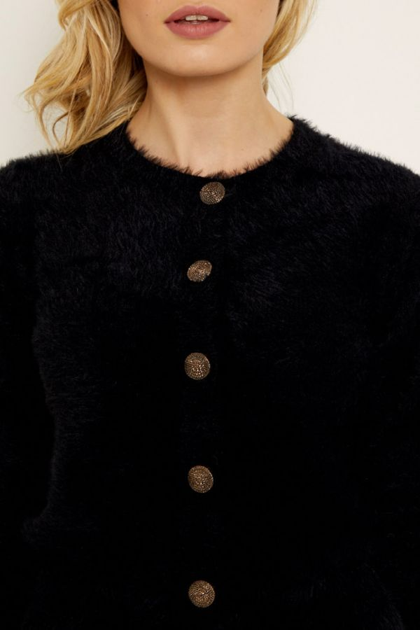Black Gold Button Detail Fluffy Cardigan
