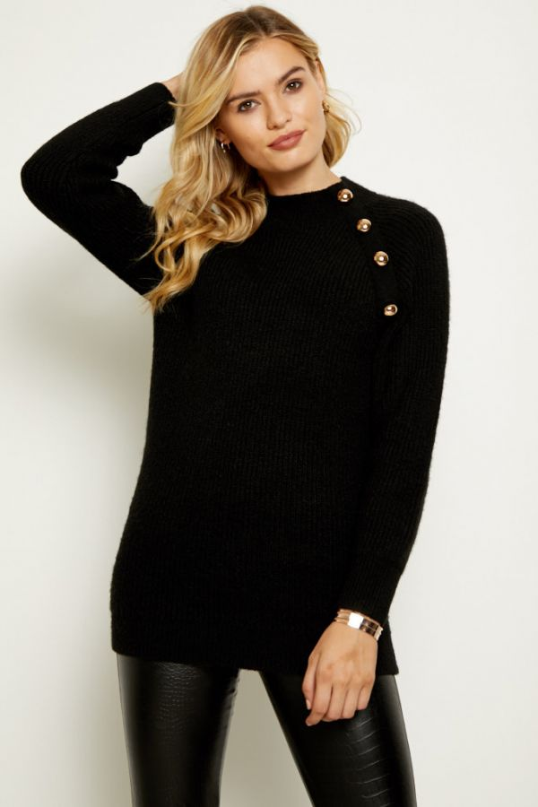 Black Gold Button Detail Chunky Jumper