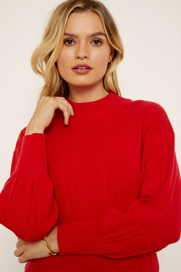 Red Wide Ribbed Fine Knit Jumper