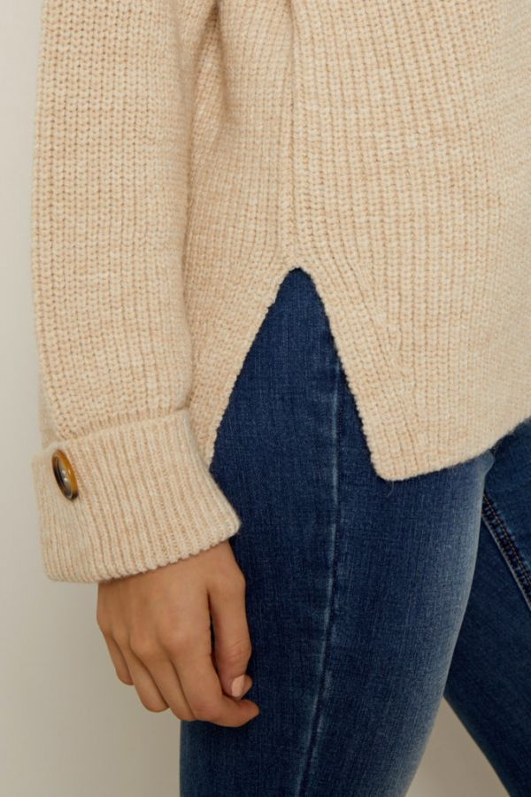 Cream High Neck Folded Button Cuff Jumper