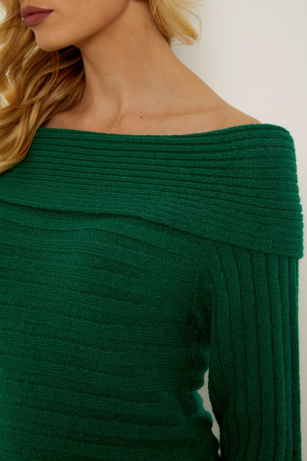 Green Bardot Ribbed Knit Jumper