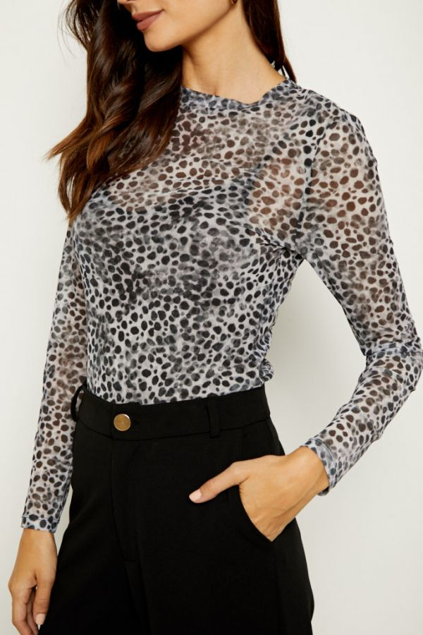 Snow Leopard Print Mesh Top