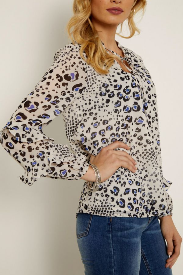 Cream Abstract Animal Print Ruffle Sleeve Top