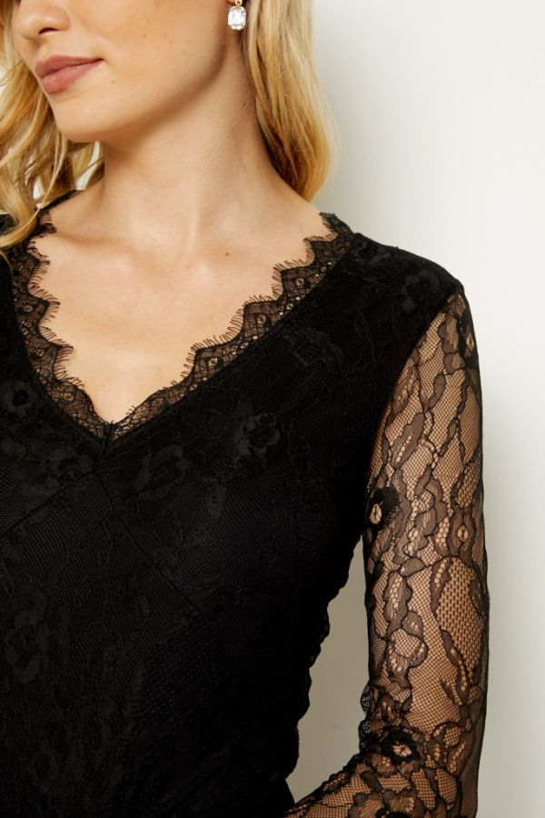 Black Long Lace Sleeve V Neck Top