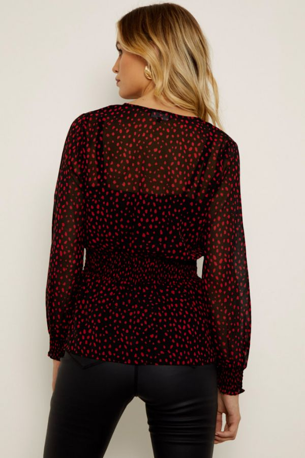 Black & Red Spot Print Wrap Front Top