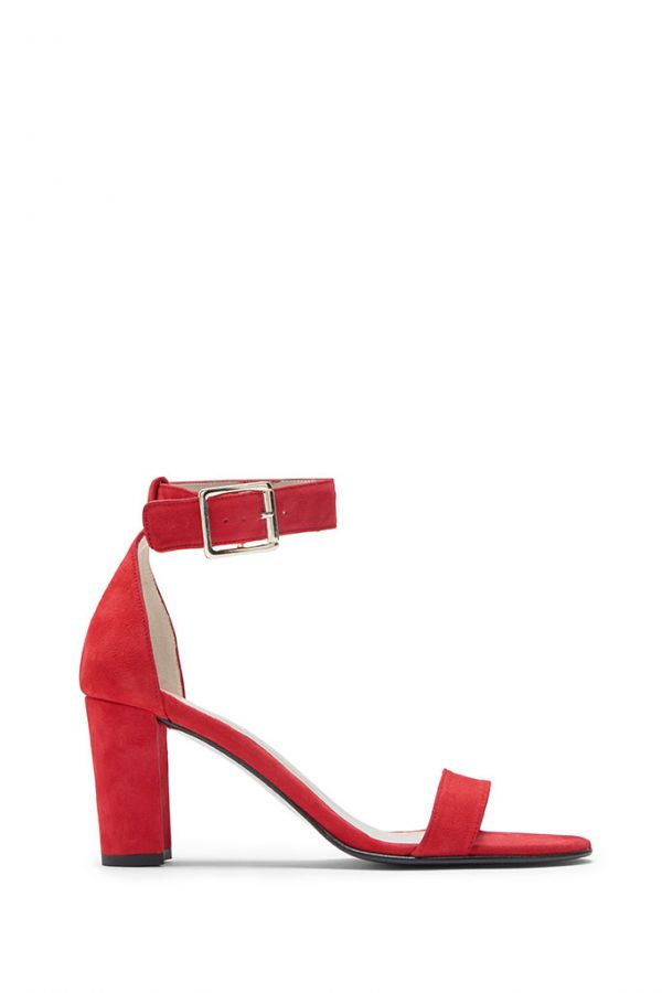 Red Suede Ankle Strap Mid Heel Sandal