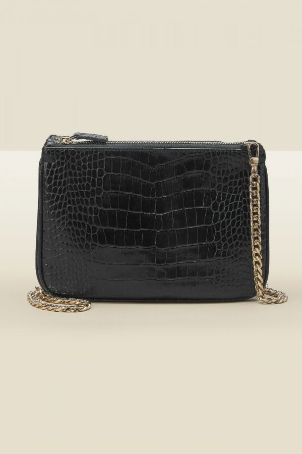 Black Croc Leather Bag With Gold Chain Strap