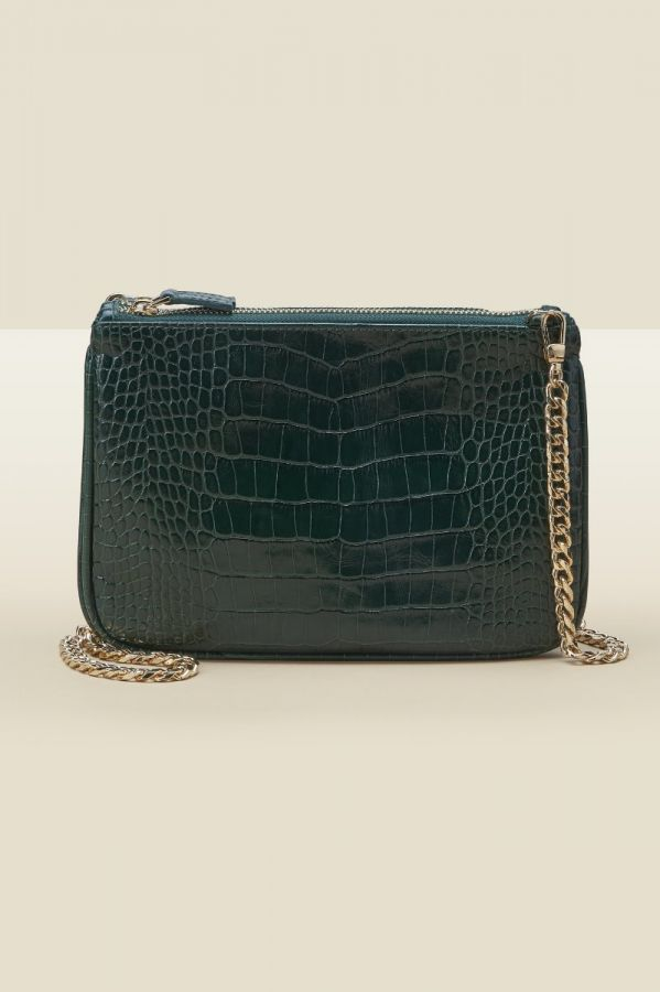 Green Croc Leather Bag With Gold Chain Strap