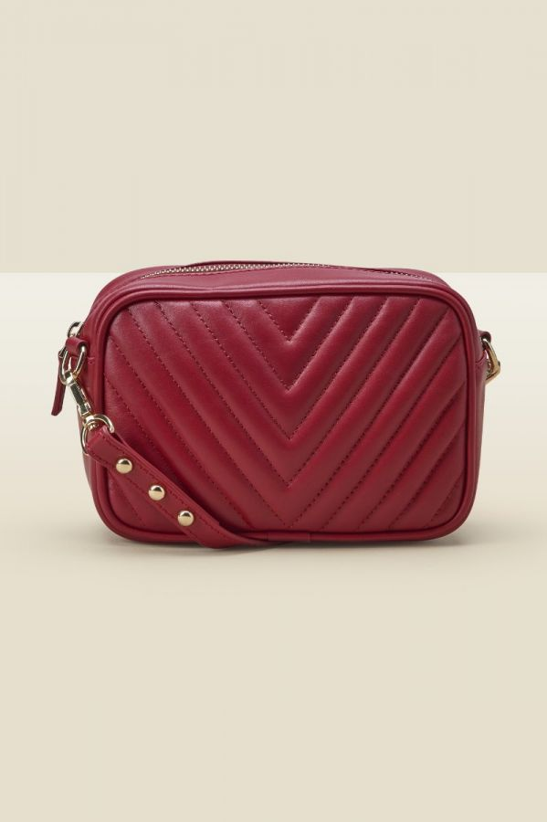 Red Leather Quilted Cross Body Bag